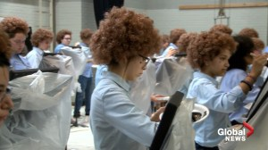 Students don curly wigs to pay homage to the late painter Bob Ross