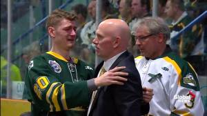 Humboldt Broncos vigil: Mourners console each other before start of ceremony