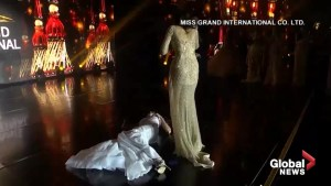 Beauty pageant winner collapses on stage moments after finding out she's won
