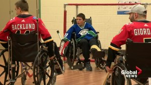 Townsend Tigers winning streak over Calgary Flames continues in annual wheelchair hockey game