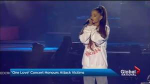 Ariana Grande headlines One Love Manchester concert benefiting victims who died of attack