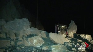 Boulders the size of a semi roll over Hwy 1 near Spences Bridge
