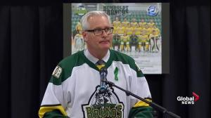 Humboldt Broncos vigil: Mayor Rob Muench delivers emotional speech