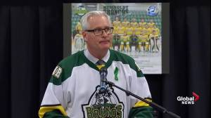 Humboldt Broncos vigil: Mayor Rob Muench delivers emotional speech