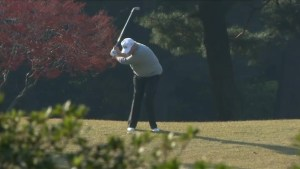 Trump, Abe and professional golfer Matsuyama are seen playing golf in Japan