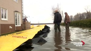 Rigaud resident puts up yellow flood barrier