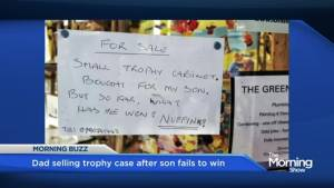 Dad selling trophy case after son failed to win anything (01:55)