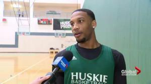 Soft-spoken Saskatchewan Huskies guard finding voice ahead of Play-In