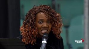 Humboldt Broncos vigil: Soulful rendition of 'Amazing Grace' performed by Araba Quaye