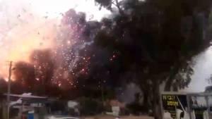 Amateur video captures massive explosion at fireworks warehouse