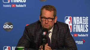 NBA Finals: Nick Nurse says it's 'awesome' Raptor fans travel with team after Game 4 win (01:07)
