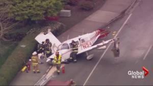 Pilot walks away from dramatic plane crash caught on dash cam