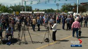 Large support rally for Canadian oil and gas held outside Global Petroleum Show in Calgary