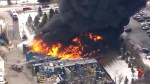 Aerial footage shows massive fire at plastic factory in Michigan