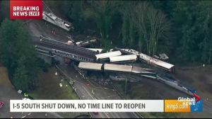 Aerial video of Amtrak train derailment off railway bridge