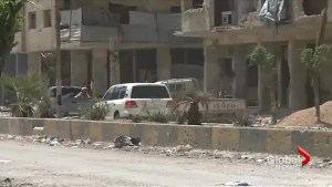 International vehicle seen near Syria suspected gas attack site