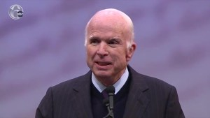 John McCain slams 'spurious nationalism' in Liberty Medal speech