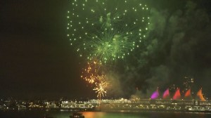 New Year's Eve fireworks light up downtown Vancouver