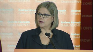 NDP leader Andrea Horwath reacts to the announcement of the Ontario Budget