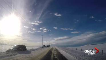 Messy road conditions on Hwy QE2 north of Airdrie - Calgary