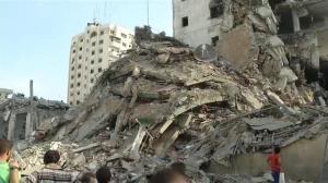 Raw video: Israel destroys two Gaza high-rises