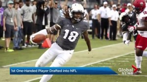 First one-handed player drafted into NFL