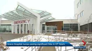 Overtime hours increase in Grace Hospital's critical care unit