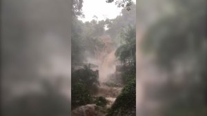 Mexican waterfall flooded by heavy rain as Hurricane Willa approaches