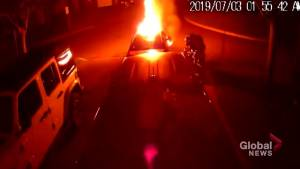Caught on camera: Video shows suspect lighting vehicle on fire