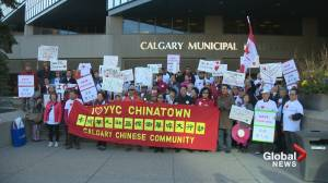 Calgary city council delays Chinatown decision after protestors march on City Hall