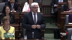 Toronto-Danforth MPP Peter Tabuns speaks in Queen's Park following shooting in his riding