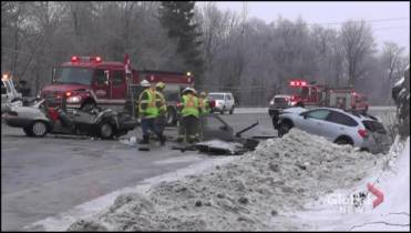 Crash north of Peterborough sends 3 to hospital, 1 with life