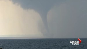 Water spout churns on Lake Erie