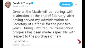 U.S. defence secretary Jim Mattis resigns after clashing with the Trump over Syria