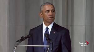 John McCain funeral: Barack Obama delivers rebuke of 'small, mean and petty' politics
