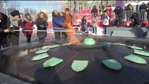 Trudeau reignites updated Centennial Flame on Parliament Hill (01:10)