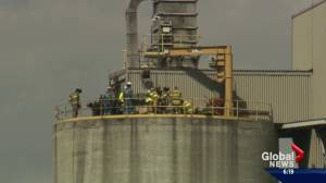 Cement plant fire sends Edmonton firefighters to hospital