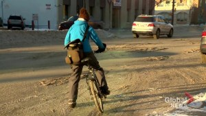 Winter bike to work day in Saskatoon