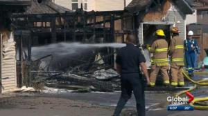 Fire destroys 3 southwest Calgary garages, 'intense' heat affects homes across alleyway