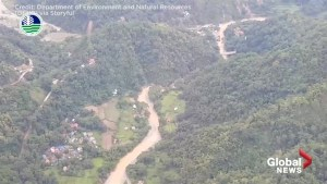 Aerial footage shows site of deadly landslide in the Philippines