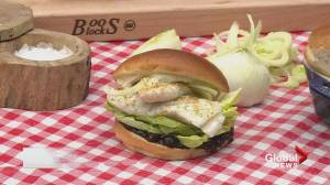BBQ Tips: Wild Pacific Halibut Burger with Blueberry Relish