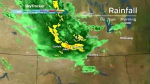 Radar timelapse of rain over Manitoba and Saskatchewan