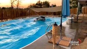 Pool splashes wildly as 7.1 earthquake hits Southern California