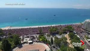 Drone video captures scale of Nice attack memorial ceremony