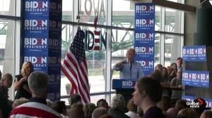 Protester interrupts Joe Biden speech, not asked to leave