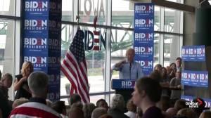 Protester interrupts Joe Biden speech, not asked to leave