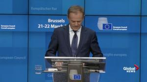 EU's Donald Tusk says extension deal on Brexit's Article 50 has been granted