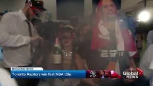 NBA Finals: Raptors celebrate first title in lockerroom