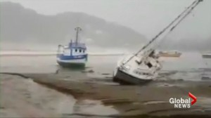Overturned ships, damaged roads seen in Nicaragua in wake of Tropical Storm Nate