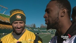Eskimos receiver Kenny Stafford has fun questioning quarterback Mike Reilly